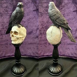Black Raven on Skeleton Skull Candlestick